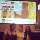 L-R: Sophia, Roxy and Kiran at the Ask Her to Stand Conference 18th July 2018